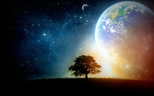 fantasy outer space trees earth